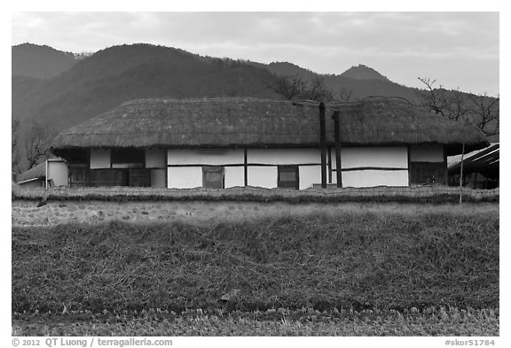 Straw roofed house. Hahoe Folk Village, South Korea (black and white)