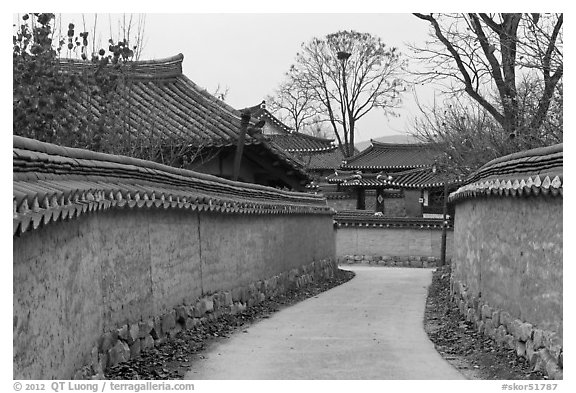 Alley between walls. Hahoe Folk Village, South Korea (black and white)