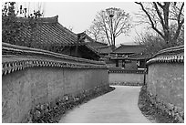 Alley between walls. Hahoe Folk Village, South Korea ( black and white)