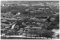 Village seen from above. Hahoe Folk Village, South Korea ( black and white)