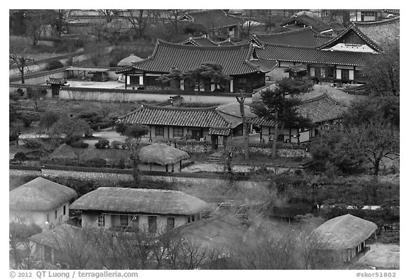 Houses seen from above. Hahoe Folk Village, South Korea (black and white)