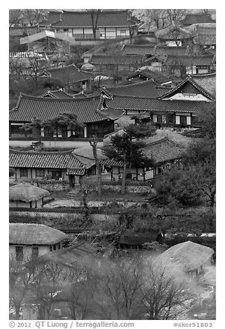 View from above. Hahoe Folk Village, South Korea (black and white)