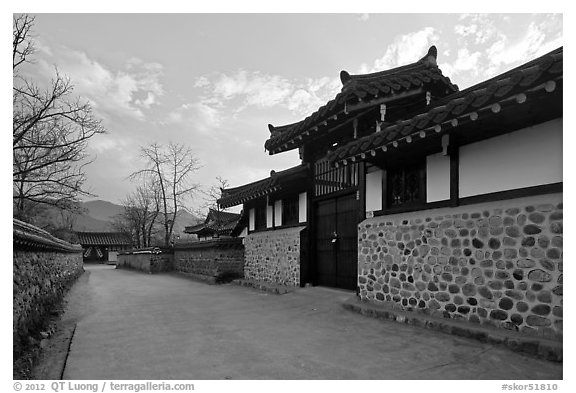 Bukchom residence. Hahoe Folk Village, South Korea (black and white)