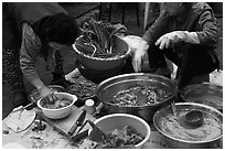 Women preparing kim chee. Gyeongju, South Korea ( black and white)