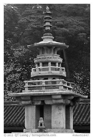 Dabotap pagoda, Bulguk-sa. Gyeongju, South Korea (black and white)