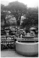 Sacred water fountain, Seokguram. Gyeongju, South Korea ( black and white)