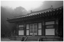 Temple at grotto entrance, Seokguram. Gyeongju, South Korea ( black and white)