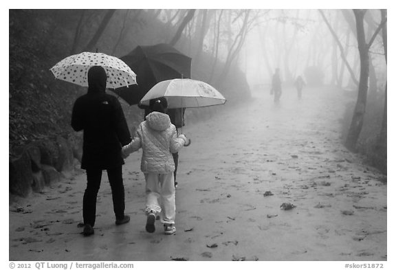 Family walking on misty path, Seokguram. Gyeongju, South Korea (black and white)