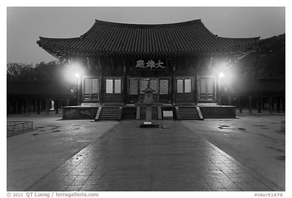 Daeungjeon (Hall of Great Enlightenment) at dusk, Bulguksa. Gyeongju, South Korea (black and white)