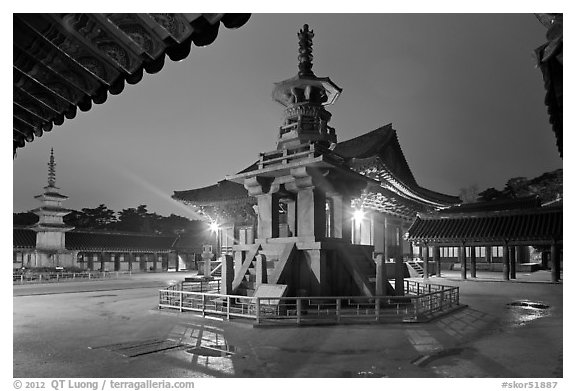 Main courtyard with pagodas by night, Bulguk-sa. Gyeongju, South Korea (black and white)