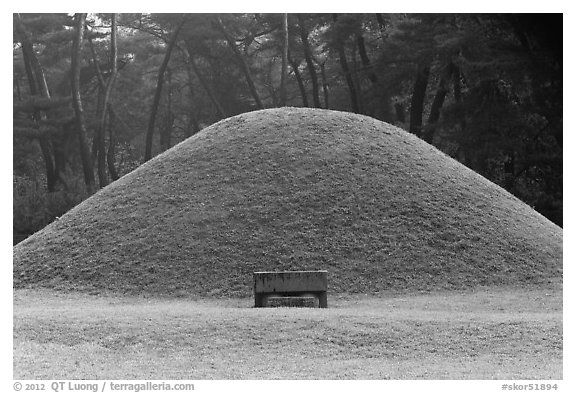 Royal tomb of Silla king Gyongae, Namsan Mountain. Gyeongju, South Korea (black and white)