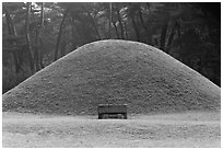 Royal tomb of Silla king Gyongae, Namsan Mountain. Gyeongju, South Korea ( black and white)