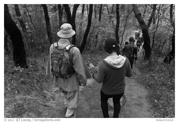 Monk and hikers on trail, Namsan Mountain. Gyeongju, South Korea (black and white)