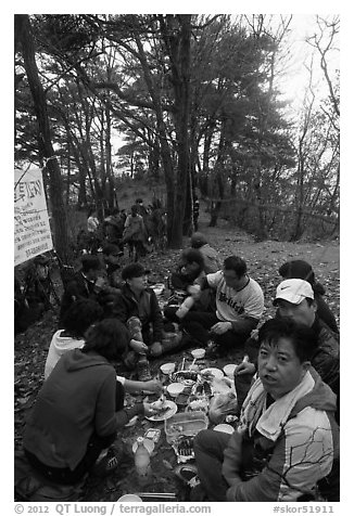 Summit picnic, Geumosang Peak, Mt Namsan. Gyeongju, South Korea (black and white)