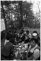 Summit picnic, Geumosang Peak, Mt Namsan. Gyeongju, South Korea ( black and white)