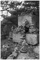 Cairns and monument, Namsan Mountain. Gyeongju, South Korea ( black and white)