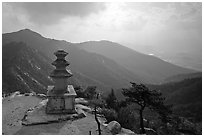 Samnyundaejwabul pagoda and mountain landscape, Namsan Mountain. Gyeongju, South Korea ( black and white)