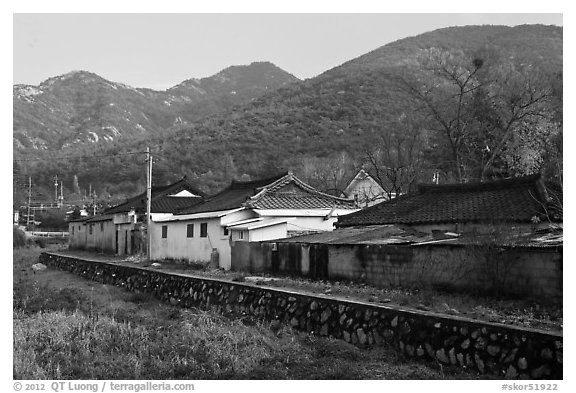 Yongjang-ri village. Gyeongju, South Korea (black and white)