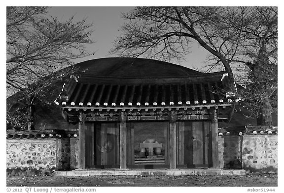Royal tomb of King Michu of Silla by night. Gyeongju, South Korea (black and white)