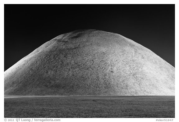 Grassy burial mound at night. Gyeongju, South Korea (black and white)