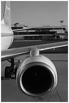 Jet engine, Gimhae International Airport, Busan. South Korea (black and white)
