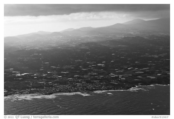 Aerial view of coast. Jeju Island, South Korea (black and white)
