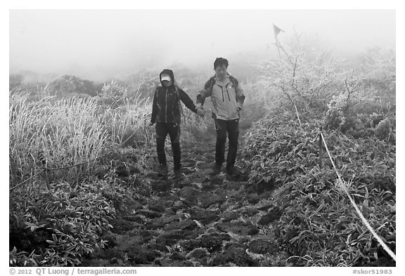 Black and white picture photo couple hiking holding hands in fog jeju island south korea