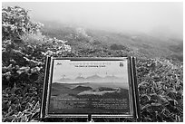 Sign and landscape with no visibility, Hallasan. Jeju Island, South Korea (black and white)