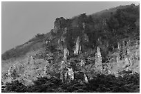 Last light on pinnacles. Jeju Island, South Korea ( black and white)