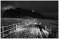 Path to  Seongsang Ilchulbong at night. Jeju Island, South Korea ( black and white)
