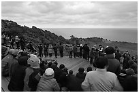 Viewers waiting for sunrise on Ilchulbong. Jeju Island, South Korea (black and white)