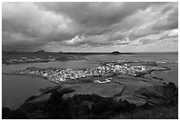 Seongsang Ilchulbong  seen from crater. Jeju Island, South Korea ( black and white)