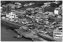 Houses with blue roofs, Seongsang Ilchulbong from above. Jeju Island, South Korea ( black and white)