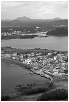 Seongsang-ri from above. Jeju Island, South Korea (black and white)