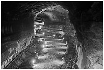 Manjanggul Lava tube. Jeju Island, South Korea (black and white)