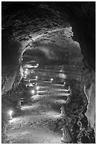 Geomunoreum Lava tube. Jeju Island, South Korea (black and white)