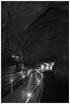 Huge lava tube cave with walkway, Manjanggul. Jeju Island, South Korea (black and white)