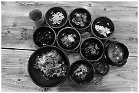 Korean meal. Jeju Island, South Korea (black and white)