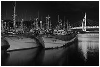 Fishing boats at night, Seogwipo. Jeju Island, South Korea ( black and white)