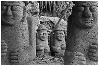 Dolharubang statues (grand father statues made of basalt rock), Seogwipo. Jeju Island, South Korea ( black and white)
