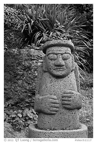 Dol Harubang statue, Seogwipo. Jeju Island, South Korea (black and white)