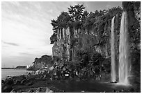 Jeongbang Pokpo, only waterfall in Asia dropping into sea, Seogwipo. Jeju Island, South Korea ( black and white)