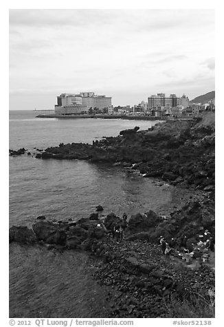 Yongduam Rock (Dragon Head) Jeju city. Jeju Island, South Korea (black and white)