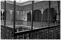 Inside courtyard veranda, Cheong Fatt Tze Mansion. George Town, Penang, Malaysia ( black and white)