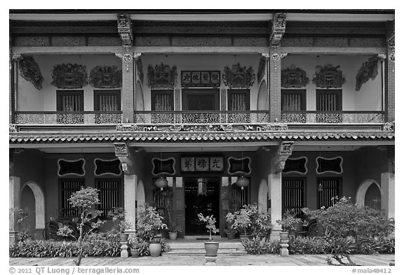 Facade, Cheong Fatt Tze Mansion. George Town, Penang, Malaysia (black and white)