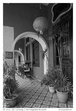 Blue exterior gallery, Cheong Fatt Tze Mansion. George Town, Penang, Malaysia (black and white)