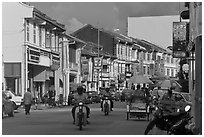 Lebuh Chulia Street, Chinatown. George Town, Penang, Malaysia ( black and white)