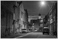 Street at night. George Town, Penang, Malaysia ( black and white)