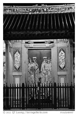 Temple doors by night. George Town, Penang, Malaysia (black and white)