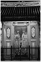 Temple doors by night. George Town, Penang, Malaysia ( black and white)